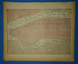 Vintage 1895 New York City Map Old Antique Original Atlas Map 50919
