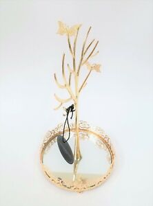 New Cynthia Rowley Gold Tone 2 Metal Butterfly mirror Dish Jewelry Holder Stand
