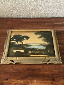 Vintage Picture Painting Curved Shaped Glass Picture Frame Victorian Scene