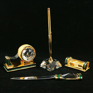 Swarovski Trimlite Executive Desk Set Gold Sheaffer Pen Tape Dispenser Biz Card