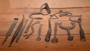 Antique Blacksmith Forged Tool Lathe Measure Puzzle Hook File Collectible Lot