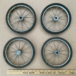 Set Of 4 Vtg Baby Buggy Carriage Stroller Wire Spoke Rubber Wheels 8 Steampunk