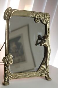 Vintage Art Deco Style Table Mirror Erte Style Solid Brass 60 S 11 5 By 9