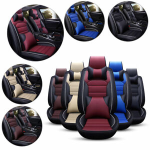 Us Luxury 11pcs Car Seat Cover Cushion Front Rear Full Set Pu Leather Protector
