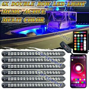 6pcs Led Tube Neon Rock Light Rgb Bluetooth Control Car Truck Boat Interior Kit