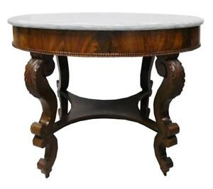 Antique Victorian Hall Table Mahogany Veneeer White Oval Shaped Marble Top