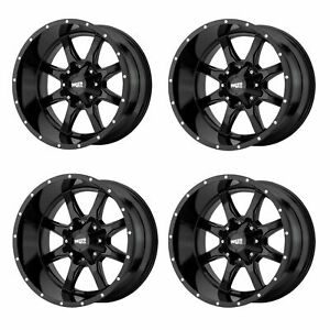 Set 4 20 Moto Metal Mo970 20x10 8x180 Gloss Black Truck Wheels 24mm Lifted