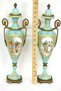 Sevres Style Lidded Urn Pair Scenes Of Courtship