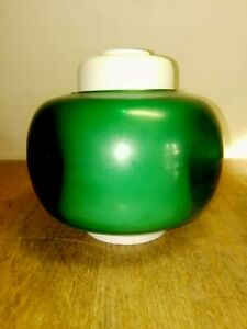 Vintage Tension Pole Lamp Glass Shade Green