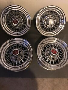 14 X 7 Vintage Wire Wheel Rims Lug Pattern With Center Caps Set Of 4