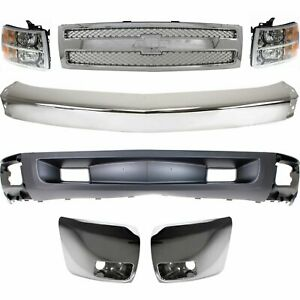 Bumper Kit For 2007 2008 Chevy Silverado 1500 Light Duty Front All Cab Types 7pc