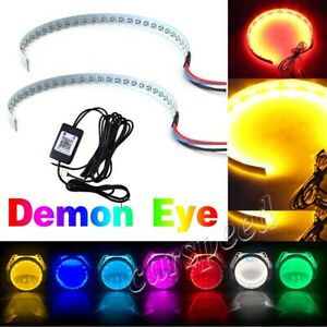 Rgb Bluetooth App Led Demon Eye Halo Ring Headlight Projector Lens For Toyota