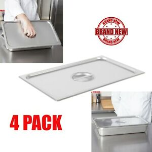 4 Pack Full Size Food Pan Lid Stainless Steel Steam Prep Table Insert Cover Cps