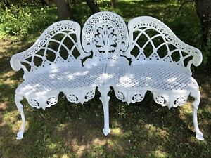 Exceptional Neoclassic Vintage Garden Bench Reduced