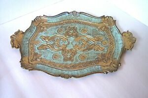 Vintage Florentine Italy Toleware Small Wooden Tray Gold Turquoise Italy