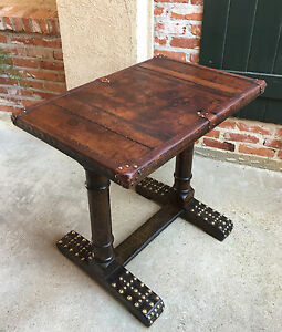 Antique English Oak Sofa Hotel Table Desk Leather Brass Library Man Cave Office