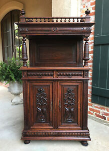 Small Antique French Carved Oak Renaissance Sideboard Cabinet Bookcase Gothic