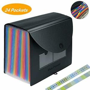 Expanding File Folder With Expandable Cover Accordion File Organizer 24 Pockets