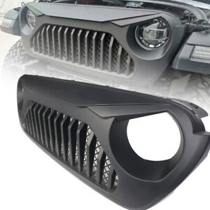 Front Matte Black Grill Angry Grille For 2018 2020 Jeep Wrangler Jl Gladiator Jt