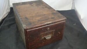 Antique Macey Oak Wood Library File Index Card Cabinet Box Single Drawer 5x8