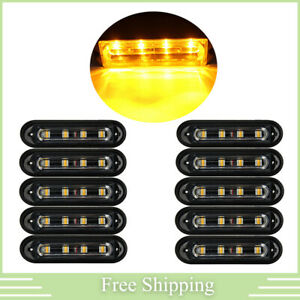 10pcs Emergency Strobe Flash Light Truck Rooftop 4 Led Amber Bulb Yellow Bright