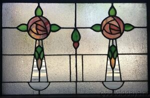 Antique 1 Of 2 1920 S Chicago Stained Leaded Glass Window 32 By 23 Transom