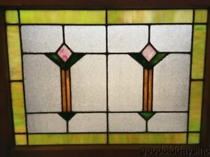 1 Of 2 Antique 1920s Leaded Stained Glass Window Privacy Glass Chicago 32 X 25