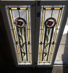 2 Of 8 Antique Chicago Stained Leaded Glass Windows Doors Circa 1925