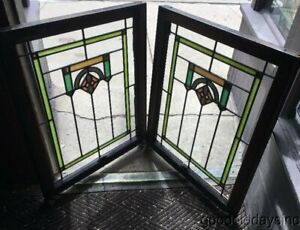 Antique Pair Of Chicago Bungalow Stained Leaded Glass Window 34 X 26 Ca 1925