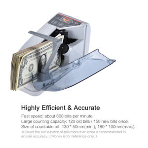 Bill Cash Banknote Counter Money Currency Counting Machine Ac Battery Powered