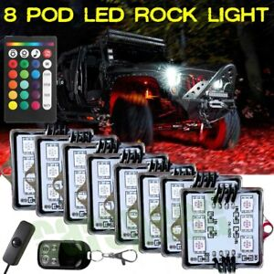 8 Pod Rgb Led Rock Light Underglow Underbody Neon Kit For Car Truck Offroad Atv