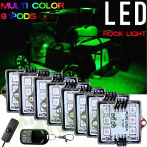 8pcs Pods Multi Color Led Golf Cart Kart Neon Light Underbody Underglow Kit 12v