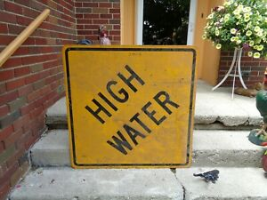 Vintage Large High Water Aluminum Road Street Highway Sign 36x36 Dirty Good