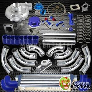 T0e4 T3 t4 63 Ar 400 hp Upgrade Intercooler Turbo Charger Kit W couplers Blue