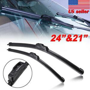 Premium 24 21 Windshield Wiper Blades J Hook Quality Bracketless Frameless