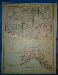 Vintage 1894 Indian Territory Map Old Antique Original Atlas Folio Size Map