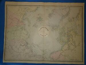 Vintage 1894 North Polar Chart Old Antique Original Atlas Folio Size Map 51319