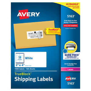 Avery Mailing Shipping Labels With Trueblock Technology 2 X 4 1000 count