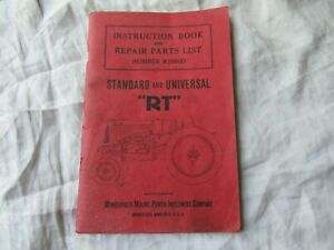 Minneapolis Moline Rt Tractor Operator s Instruction Manual And Parts Catalog