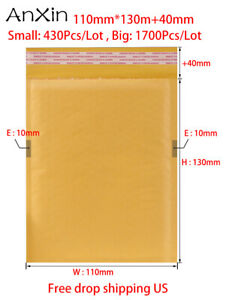 1700pcs Kraft Paper Bubble Mailers 110mm 130mm 40mm Padded Envelopes Self Seal