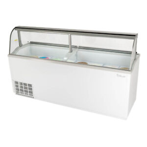 Turbo Air Tidc 91w n 89 Ice Cream Dipping Cabinet With Curved Glass White