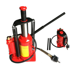 Red Steel 20 Ton Air Hydraulic Bottle Jack Manual Lifts Moving Machinery Tool