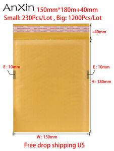 1200pcs lot Kraft Bubble Mailers 150mm 180mm 40mm Padded Envelopes Self Seal