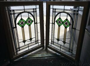 2 Of 6 Antique 1920 S Chicago Bungalow Stained Leaded Glass Window 34 X 25