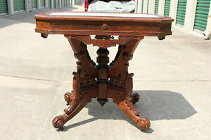 Fancy Large Walnut Victorian Aesthetic Eastlake Picture Frame Marble Top Table