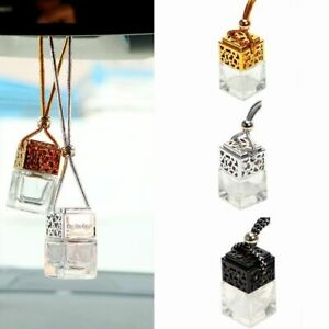 5 Silver Car Hanging Air Freshener Empty Glass Bottle Perfume For Essential Oil