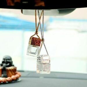 3 Gold Car Hanging Air Freshener Empty Glass Bottle Perfume For Essential Oils
