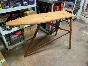 Antique Vintage Ironing Board Wood And Metal Legs Large Size Great Shape 4 Feet