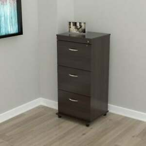 Porch Den Fremont 3 drawer Espresso Locking File Cabinet