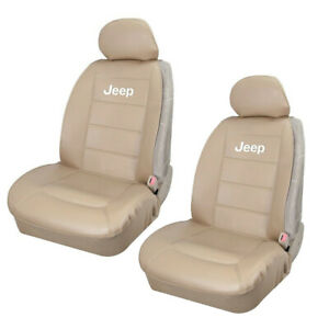 Jeep Elite Tan Synthetic Leather Car Truck Suv 2 Front Sideless Seat Cover